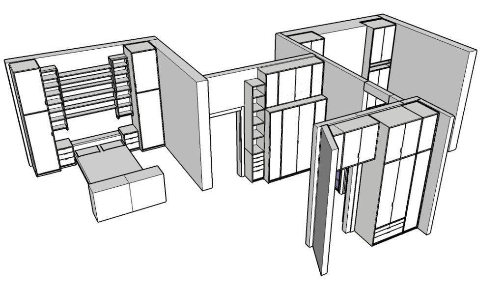 CAD drawing of cupboards in a flat