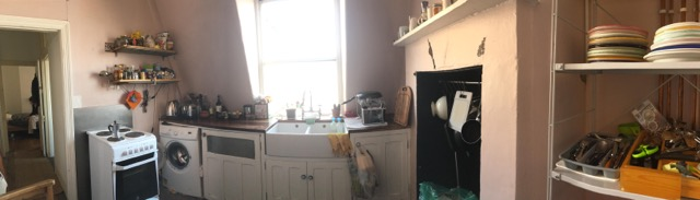 wide shot of an old kitchen, looks rather tired