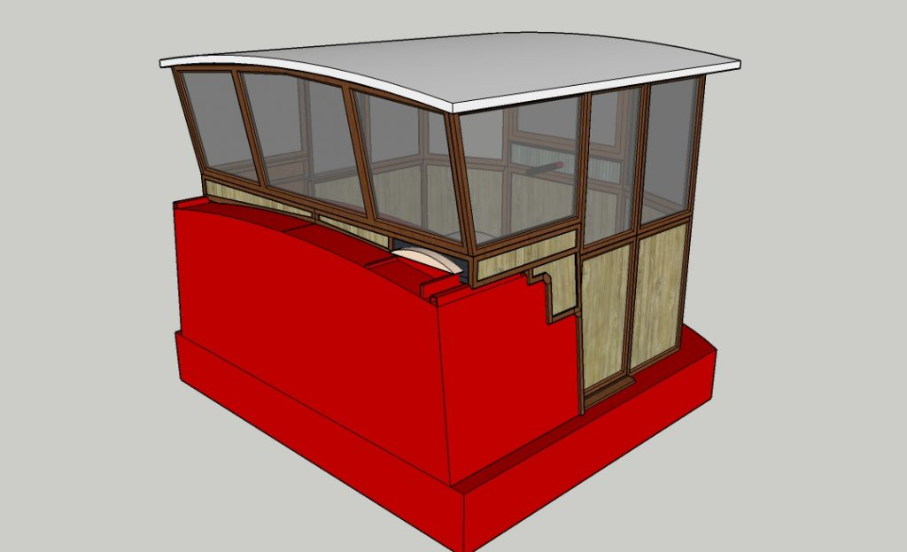 CAD drawing of a wheelhouse on a cross section of a red boat